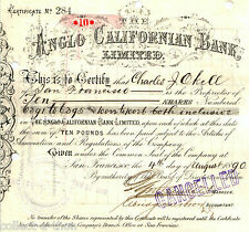 ANGLO CALIFORNIA BANK 1ST ISSUE ca 1900! 1890's $50, 1880's $60 NOW WELLS FARGO!