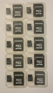 Lot of 10 x 4GB Micro SD Cards with Samsung adapters and cases