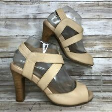You By Crocs 7M Beige Textured Leather Dress Sandal Open Toe Elastic Ankle Strap
