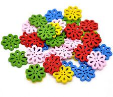 20 Misti in Legno Fiore colorato e vivace, pulsanti 20mm. cucito, card making,
