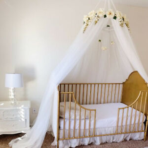 Kids Crib Bed Canopy Mosquito Net Tulle Curtain Hang Dome Tent with Garland Home