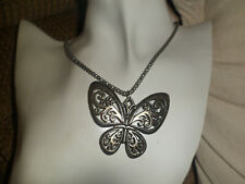colour butterfly pendant necklace silver colour chain with silver