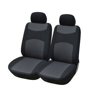 2 Car Seat Covers Semi-Custom Cloth Fabric Compatible to Lincoln 860 Black