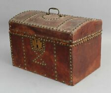 Small Antique 19thC Personal Leather Wood Brass Studs Trunk Chest Document Box