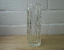 Vintage Clear Glass Vase, Bark Effect