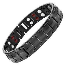 Willis Judd Mens 4 Element All Black Titanium Magnetic Bracelet Free Adjuster