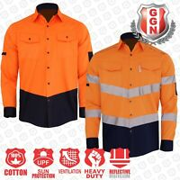 HI VIS SHIRT SAFETY COTTON DRILL WORK Vents UPF 50+ LONG SLEEVE NEW DESIGN