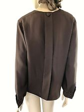 YVES YES SAINT LAURENT RIVE GAUCHE CHOCOLATE BROWN SILK SECRETARY  SHIRT SIZE 36