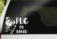 Pug On Board For Auto Car/Window Vinyl Decal Sticker Decals Decor CT067