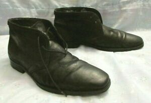 Men's BOSS Hugo Boss Black Leather Lace Up Real Fur Lining Boots Size 7 1/2
