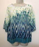 Christopher Banks Medium Blouse Teal Green Wide Half Sleeve Relaxed Fit Top
