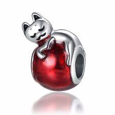 1pcs Sleeping cat European Charm Beads Fit 925 silver Bracelet Necklace Chain