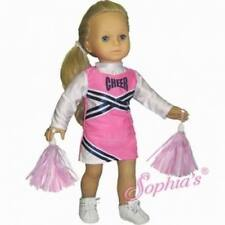 "Doll Clothes 18"" Pink & Navy Cheerleader Outfit with Pom-Poms"