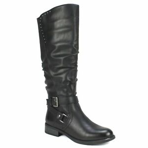 White Mountain Women Block Heel Knee High Riding Boots Liona Faux Leather
