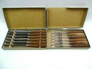 Mills Moore Cutlery 6 Table Knives 6 Table Forks Wooden Handles Original Boxes
