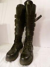 "DEMONIA Men's Goth Captoe Combat 1"" Heel 20 Eyelet Boots w/ 5 Buckle Straps EUC"