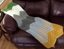 CROCHET blanket afghan couch throw wrap chevron ripple handmade baby color block