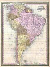 1850 MITCHELL MAP SOUTH AMERICA VINTAGE POSTER ART PRINT 2894PY