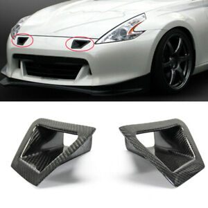 2x Carbon Fiber Front Bumper Side Vent Air Duct Intake Cover For Nissan 370Z Z34
