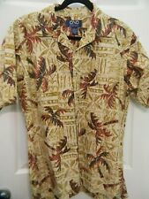 HAWAIIAN ALOHA SHIRT - RED BROWN PALM TREES ON BEIGE PRINT - MEN'S SIZE L