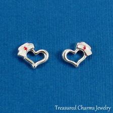 Nurse Heart Earrings - Silver Post Stud Earrings - Nursing School Gift NEW