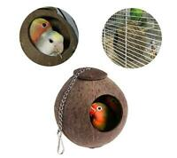 FP- Natural Coconut Shell Bird Nest Hanging House Hut Cage for Pet Parrot Hamste