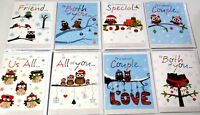 CHRISTMAS OWLS x48 CARDS, JUST 25p, textured board, wrapped, 8 DESIGNS, SEE LIST