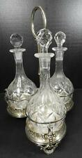 Antique Walker & Hall Silver Plated Three Division Decanter Stand & Decanters