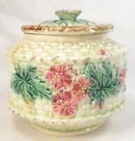 Majolica Basket Weave & Floral Sugar Bowl & Lid Art Pottery Pink Yellow Antique