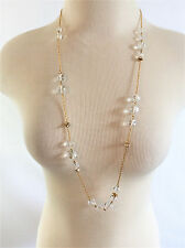 J.Crew Stamped Gold Chain Clear Beads Crystal Spacers Necklace