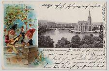 STUTTGART-WEST Johanneskirche & Feuersee / Zwerge * AK um 1900 Litho