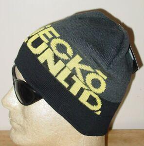New Licensed ECKO Rhino Beanie RAWTHENTIC Black/Gray/Yellow Hat