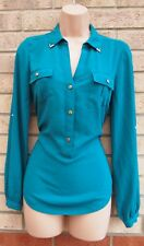 OASIS GREEN UTILITY BUTTONED LONG SLEEVE V NECK FORMAL BLOUSE T SHIRT TOP 8 S