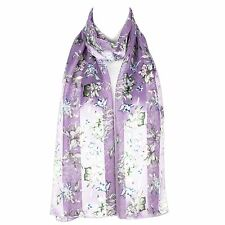 Womens Chiffon Satin Flower Design Scarf Shawl