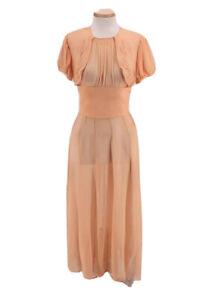 Vintage 1930s Sheer Pleated Peach Evening Maxi Dress Satin Ribbon Applique