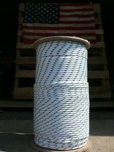 """Sailboat Rigging Rope 3/16"""" x 100' White/Blue Double Braided Sheet Halyard Line"""
