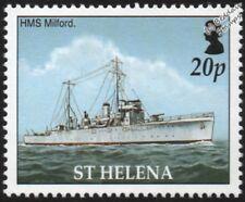 WWII HMS MILFORD (L51) Shoreham-Class Sloop Warship Stamp (2005 St Helena)