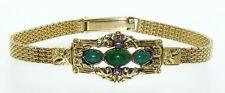 Antique Biedermeier (Victorian) Yellow Gold Mesh Jade Ruby Detachable Bracelet