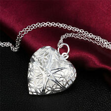 Fashion Women Silver Love Heart valentine Gift locket chain necklace pendant NEW