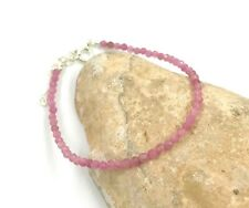 Genuine Pink Tourmaline Natural Color 925 Silver adjustable Bracelet USA SELLER