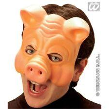 Plastic Pig Fancy Dress Mask - Animal Half Vinyl Face Farm