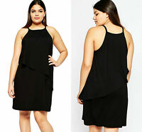 New Women Ladies Midi Black Plus Size Curve Tiered Swing Dress Summer Size 16 18