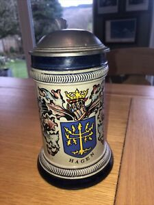 Beer stein, German beer mug with pewter lid in excellent condition