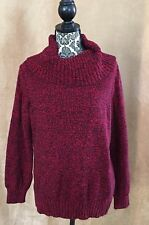 XL Ralph Lauren womens red cowl neck pull over sweater holiday black extra large