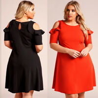Sexy Women Casual Dress Cocktail Short Sleeve Plus Size Skirt Party Evening