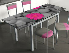 Mesa de cocina comedor extensible 170x70 cm cristal templado serigrafiado