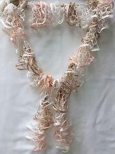 Crochet Knit Ruffle Loopy Champagne Pink White Scarf Wrap Shawl