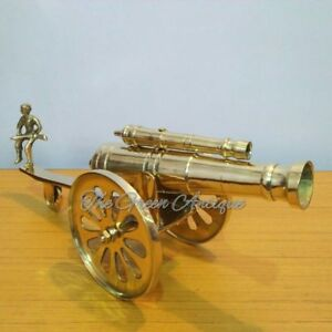 Antique Brass Vintage Style Cannon Double Barrel Beautiful Home Decorative Item