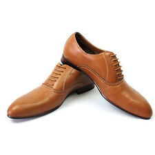 New Men's Brown Ferro Aldo Pointed Toe Leather Lining Dress Shoes Lace Up 19372