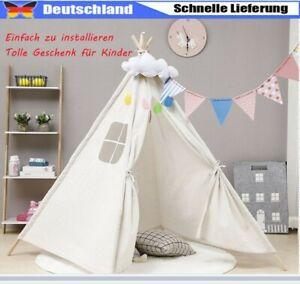 Tipi Zelt Kinderzelt Spielzelt Baumwolle Outdoor Indoor Weiß Geschenk Für Kinder